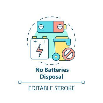 No batteries disposal concept icon