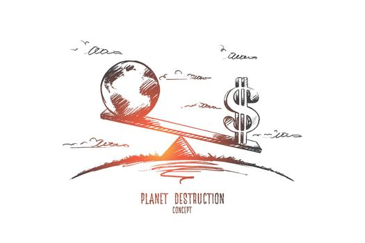 Planet destruction concept. Hand drawn isolated vector.