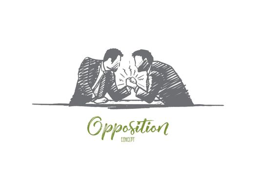 Opposition concept. Hand drawn isolated vector