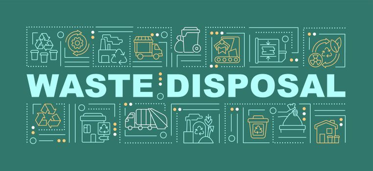 Waste disposal and processing word concepts banner
