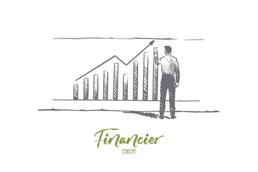Financier concept. Hand drawn isolated vector