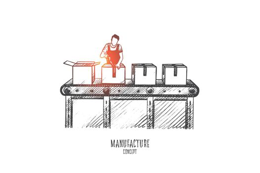 Manufacture concept. Hand drawn isolated vector.
