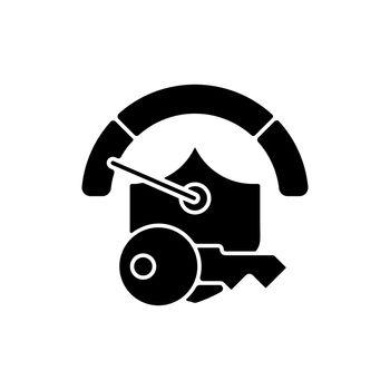 Weak password black glyph icon