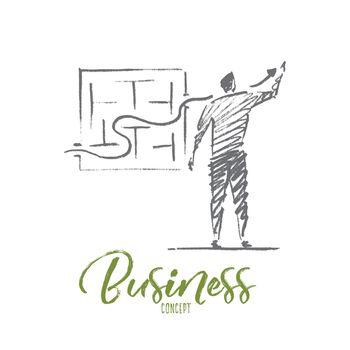 Hand drawn businessman drawing growth indicator
