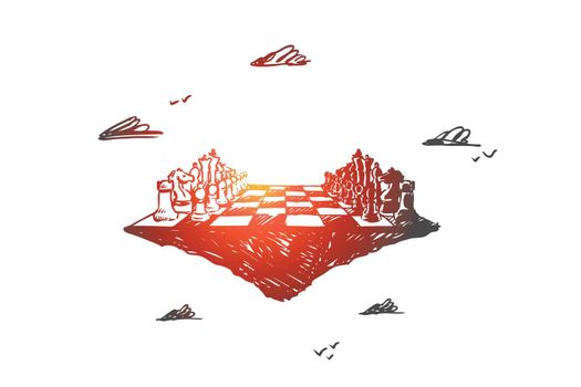 Business strategy, chess, tactics, competition, confrontation concept. Hand drawn isolated vector.