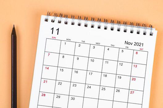 Close up November 2021 desk calendar.