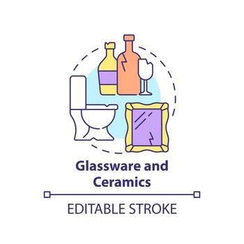 Glassware and ceramics concept icon