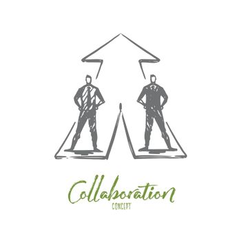 Businessmen, collaboration, strategy, cooperation concept. Hand drawn isolated vector.