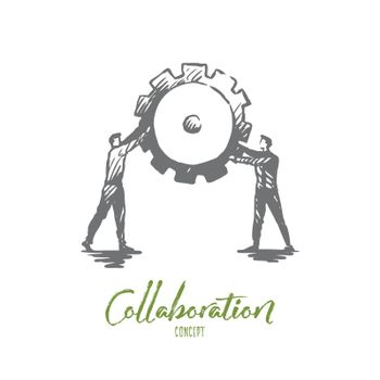 Work, collaboration, teamwork, support, cooperation concept. Hand drawn isolated vector.