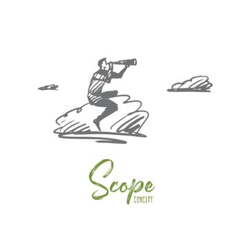 Scope, optical, focus, target, discover concept. Hand drawn isolated vector.