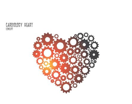 Cardiology heart concept. Hand drawn isolated vector.