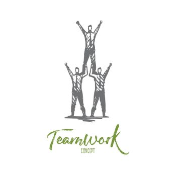 Teamwork, team, leadership, growth, effort concept. Hand drawn isolated vector.