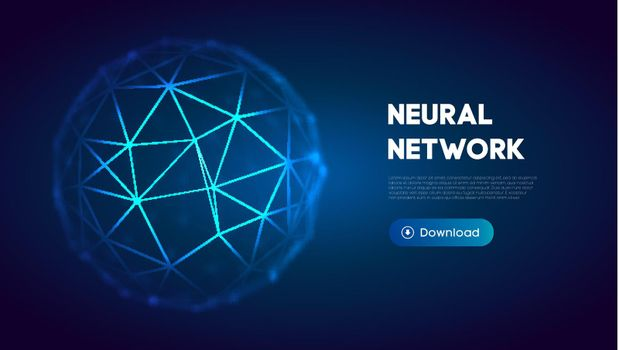 Neural network abstract technology science background. Human brain technology concept design. Mind concept. Cloud network vector illustration.