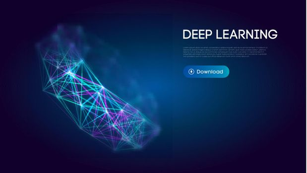 Deep learning science technology background. Network communication ai deep learning. Vector illustration.