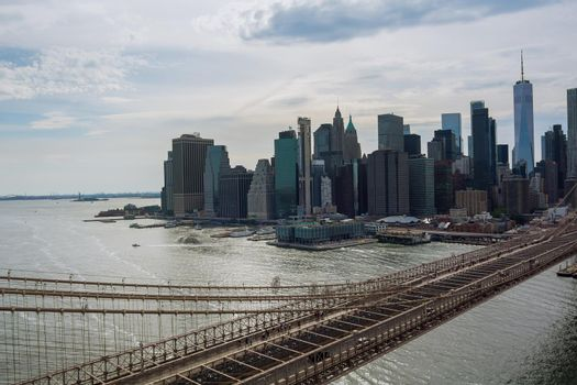 Panorama beautiful cityscape Manhattan overview Brooklyn bridge in New York City United States America