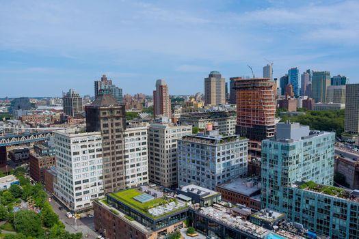 Aerial view Brooklyn Bridge in New York majestic downtown Brooklyn skyline in US