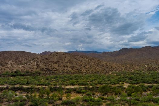 Amazing beautiful panoramic landscape in valley Arizona