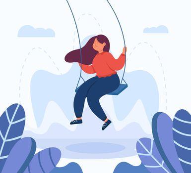 Adult female cartoon character swinging on swing