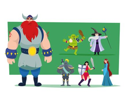 Cartoon heroes and monster vector illustrations set