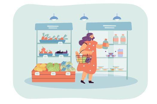 Female cartoon customer choosing goods in supermarket