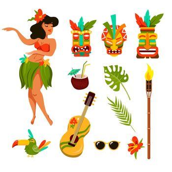 Symbols of Hawaii vector illustration set