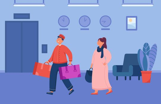 Cartoon bell boy helping female guest carry luggage