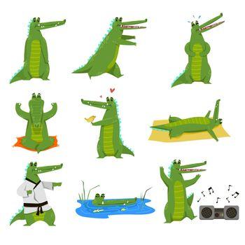 Funny alligator cartoon character vector illustration set
