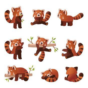 Cute red panda cartoon set