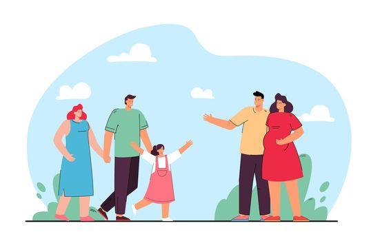 Friendship of families flat vector illustration