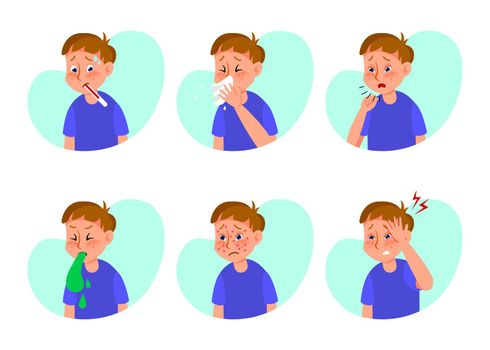 Ill boy with flu or cold flat vector illustrations set