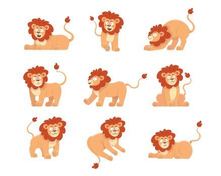 Cute lion cartoon character vector illustrations set