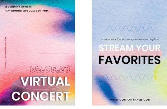 Chromatography colorful music template vector event ad poster dual set