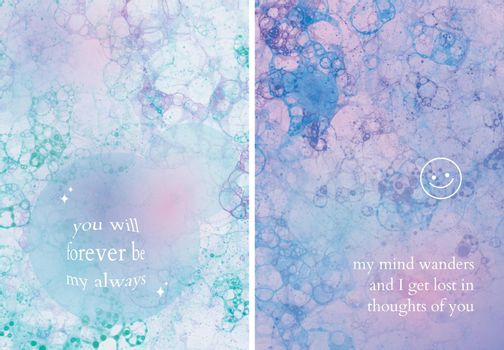 Aesthetic bubble art template vector with love quote poster dual set