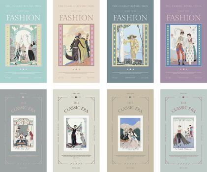 Vintage fashion templates vector for social media stories, remix from artworks by George Barbier