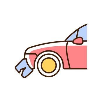 Broken bumper RGB color icon