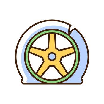 Tyre damage RGB color icon