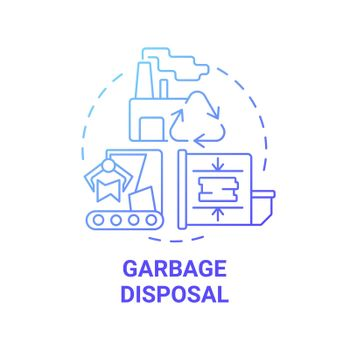 Garbage disposal blue gradient concept icon