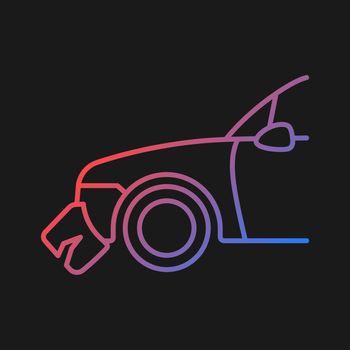 Broken bumper gradient vector icon for dark theme