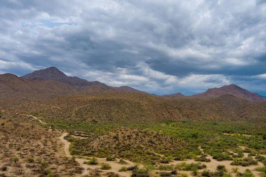 Rock hills in desert area in Arizona