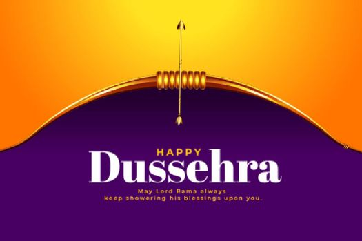 dussehra festival wishes card with realistic bow