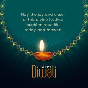 happy diwali festival wishes card design