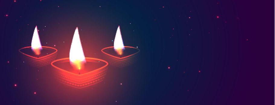 diwali glowing diya banner design