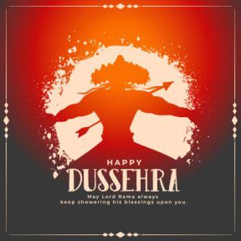 dussehra wishes card with raavan being killed