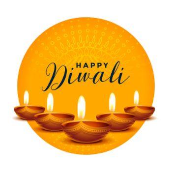 happy diwali wishes card with realistic diya