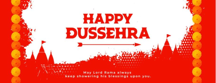 happy dussehra red banner with temples and flowers