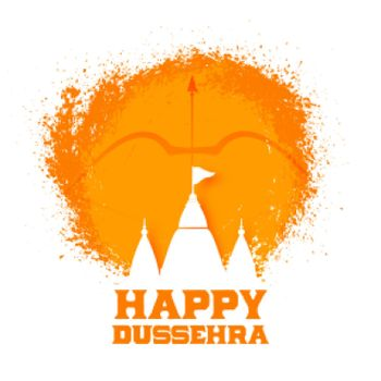 happy dussehra greeting card design with temples