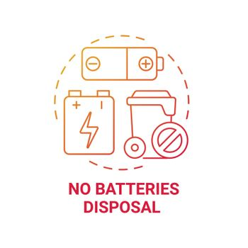 No batteries disposal red gradient concept icon