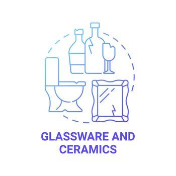 Glassware and ceramics blue gradient concept icon