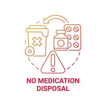 No medication disposal red gradient concept icon