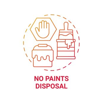 No paints disposal red gradient concept icon